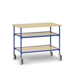 Rolltisch mit 3 Böden aus Holz