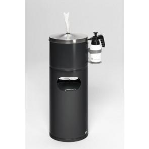 Desinfektionsstation für Papiertücher mit Flaschenhalter und Inneneinsatz