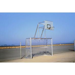 Bolzplatztor 5 x 2 m mit Alu-Ballfang und BB Aufsatz