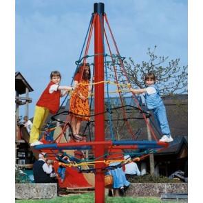 Kletternetz-Pyramide drehbar mit gepulvertem Mast