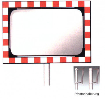 Verkehrsspiegel rechteckig rot-weiß