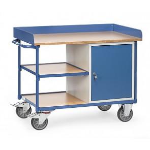 Werkstattwagen mit Arbeitsplatten 400 kg mit Umrandung 1 Schrank und 1 Schublade