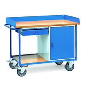 Werkstattwagen mit Arbeitsplatten400 kg mit Umrandung, 1 Schrank und 1 Schublade