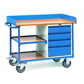 Werkstattwagen mit Arbeitsplatten400 kg mit Umrandung 4 Schubladen und 3 Ladeflächen