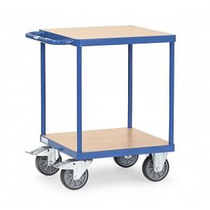 Schwerer Tischwagen 500 kg - quadratischer Ladefläche mit 2 Böden aus Holz