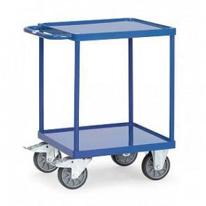 Tischwagen mit Stahlblech-Wannen 500 kg - quadratischer Ladefläche-  2 Böden aus Stahlblech und 10 mm hohem Rand
